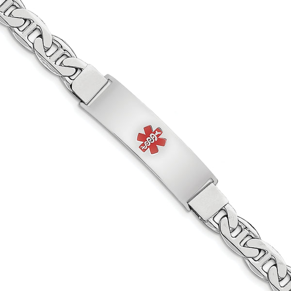 Sterling Silver Rhodium-plated Medical ID Anchor Link Bracelet
