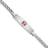 Sterling Silver Rhodium-plated Medical ID Curb Link Bracelet