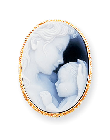 14K 22x30mm Agate Cameo with Sentiment Pin/Pendant