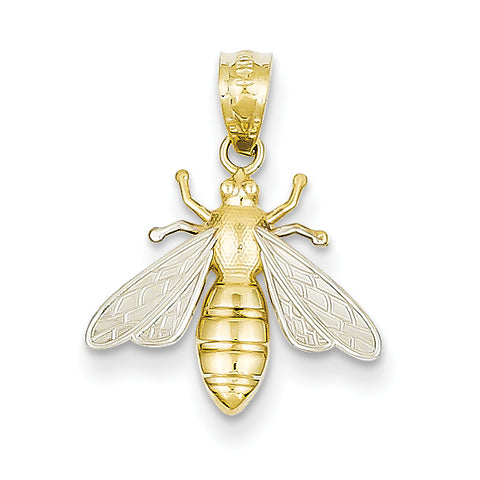 14K & Rhodium Bee Pendant