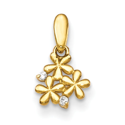 14K CZ Children's Flowers Pendant