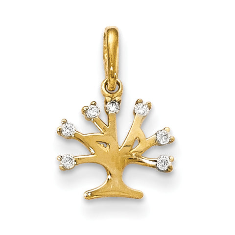 14K CZ Children's Tree Pendant