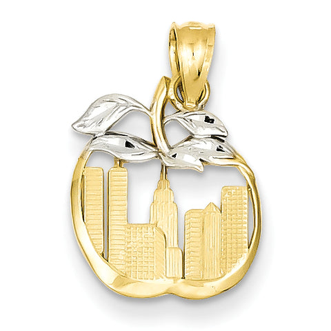 14K & Rhodium Cut-out New York Skyline in Apple Pendant