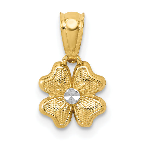 14K & Rhodium Small Flower Charm