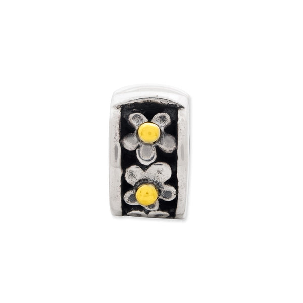 Sterling Silver & 14k Reflections Hinged Floral Clip Bead
