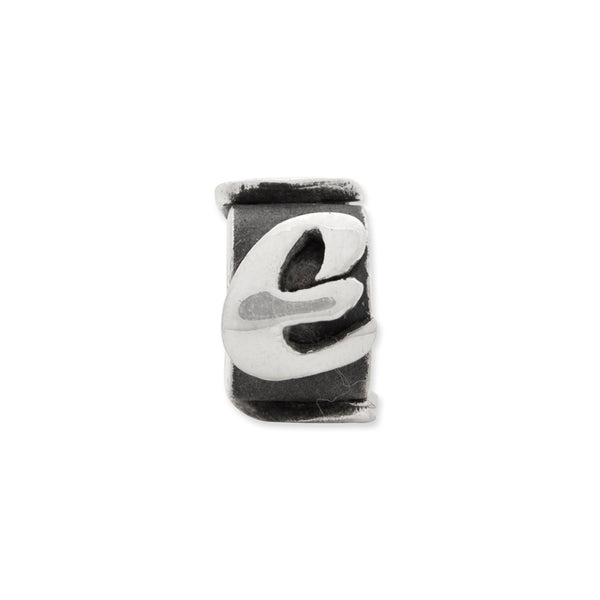 Sterling Silver Reflections Letter E Message Bead