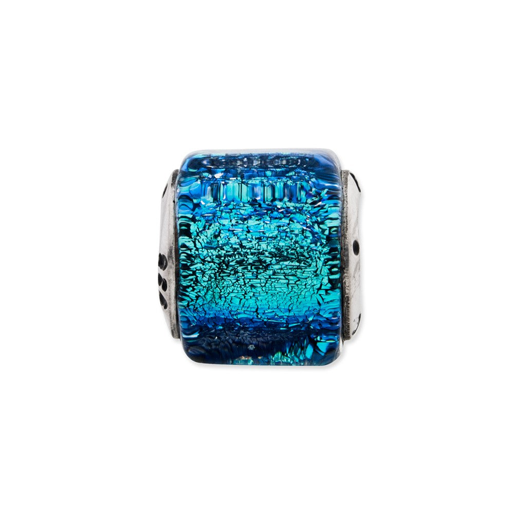 Sterling Silver Reflections Blue Dichroic Glass Square Bead