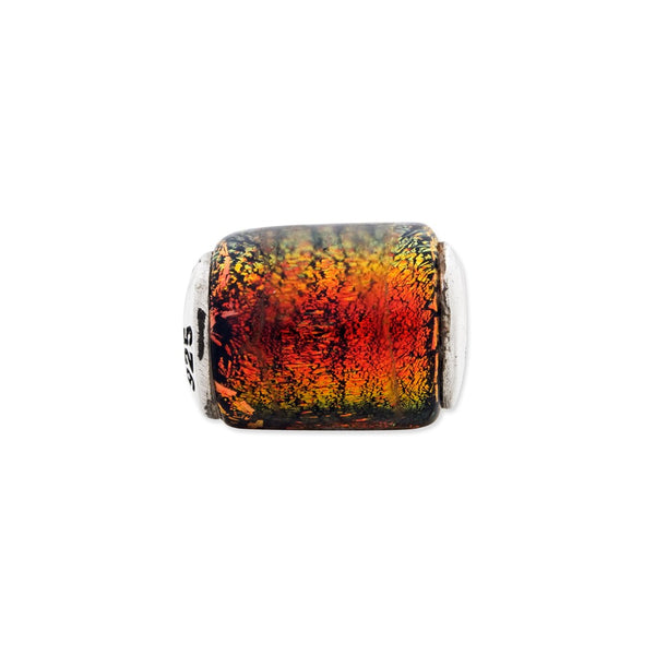Sterling Silver Reflections Orange Dichroic Glass Barrel Bead