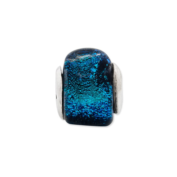 Sterling Silver Reflections Blue Dichroic Glass Triangle Bead