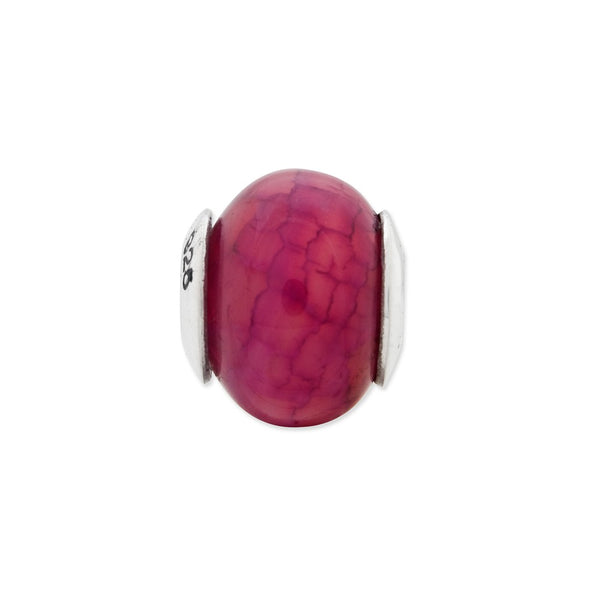 Sterling Silver Reflections Fuschia Cracked Agate Stone Bead