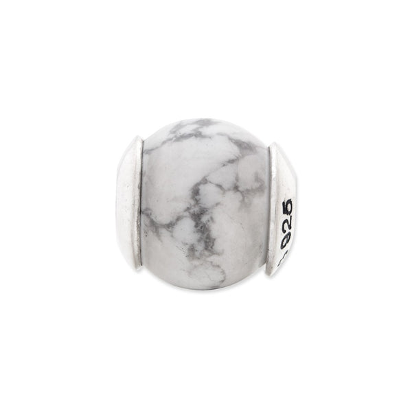 Sterling Silver Reflections White Howlite Stone Bead