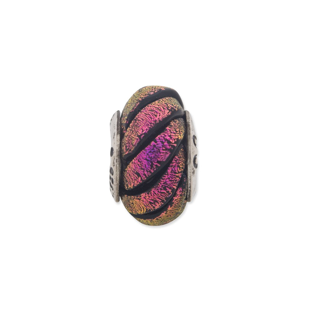Sterling Silver Reflections Purple Swirl Dichroic Glass Bead