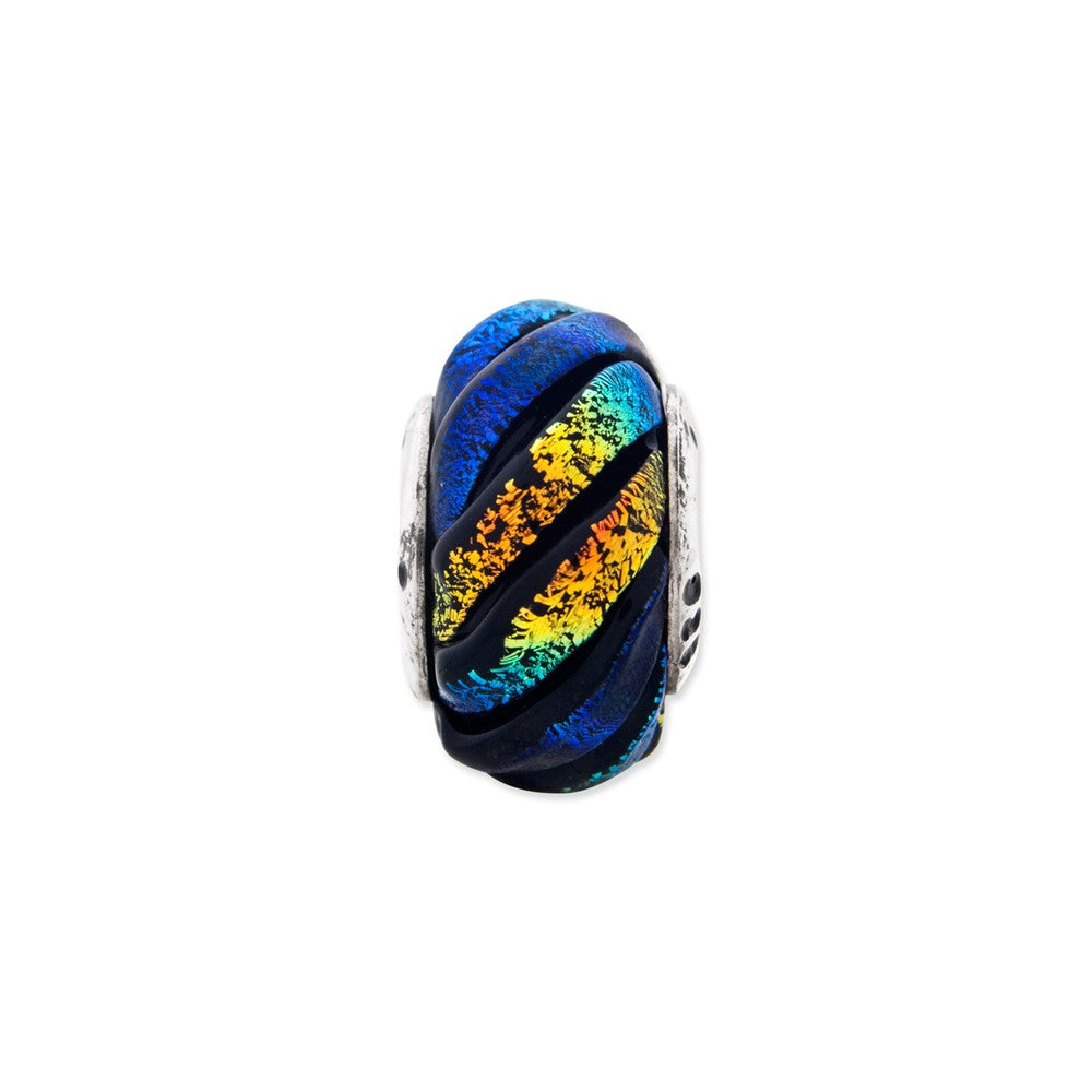 Sterling Silver Reflections Rainbow Swirl Dichroic Glass Bead