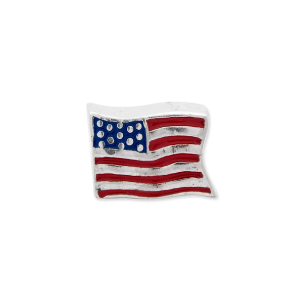 Sterling Silver Reflections Enameled USA Flag Bead