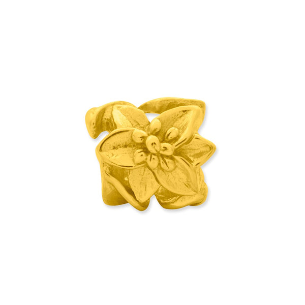 Sterling Silver Gold-plated Reflections Plumeria Floral Bead