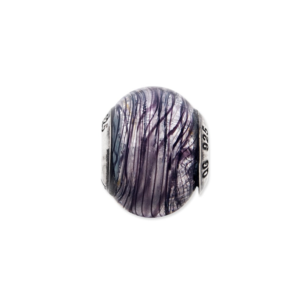 Sterling Silver Reflections Italian Murano Purple Stripes Glass Bead