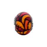 Sterling Silver Reflections Italian Orange Decorative Overlay Glass Bead