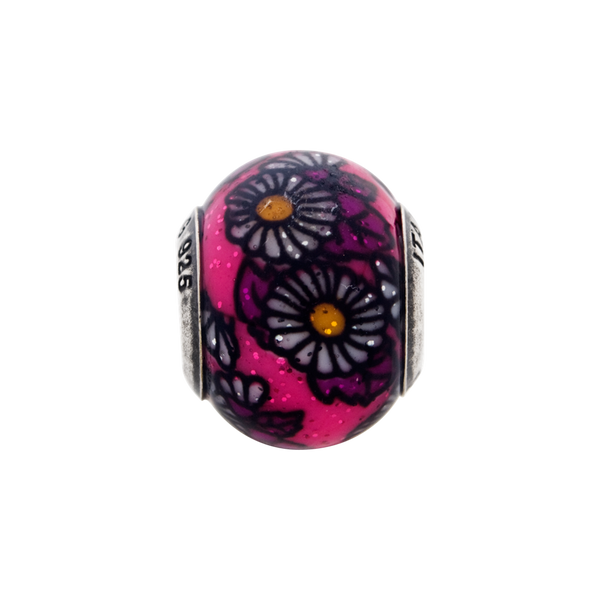 Sterling Silver Reflections Italian Pink Floral Overlay Glass Bead