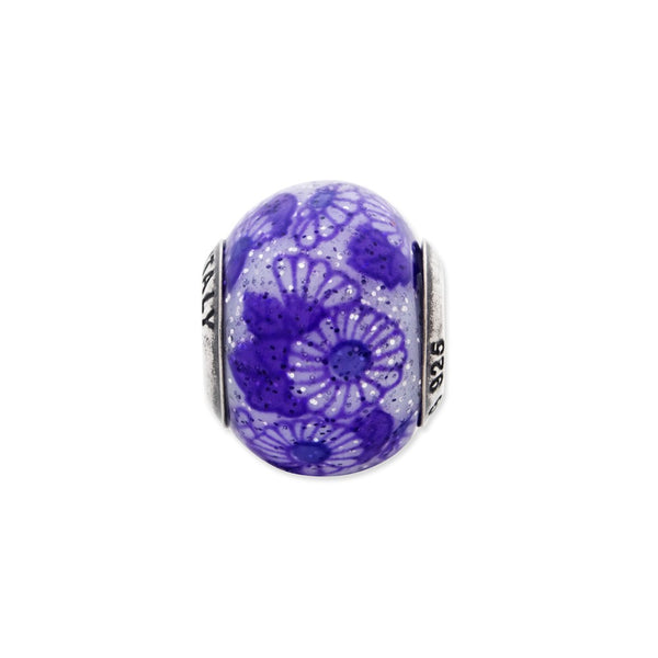 Sterling Silver Reflections Italian Purple Floral Overlay Glass Bead