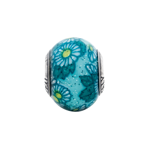 Sterling Silver Reflections Italian Teal Floral Overlay Glass Bead