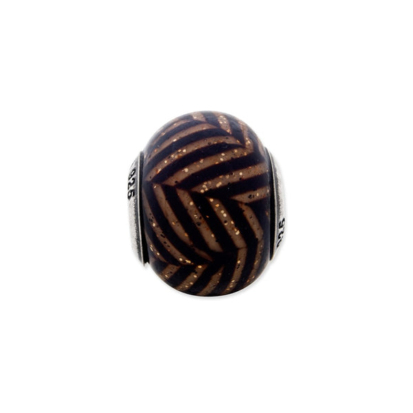 Sterling Silver Reflections Italian Brown Stripes w/Glitter Glass Bead