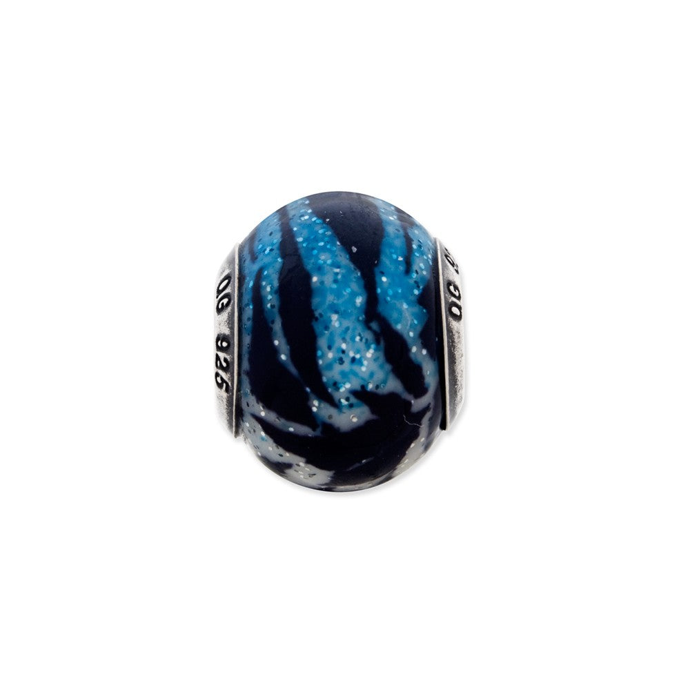 Sterling Silver Italian Variegated Blue & Black Stripes Glass Bead