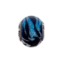 Load image into Gallery viewer, Sterling Silver Italian Variegated Blue & Black Stripes Glass Bead