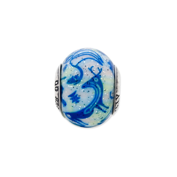 Sterling Silver Reflections Italian Decorative Blue & White Glass Bead