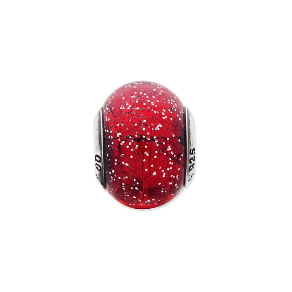 Sterling Silver Reflections Italian Red w/Silver Glitter Glass Bead