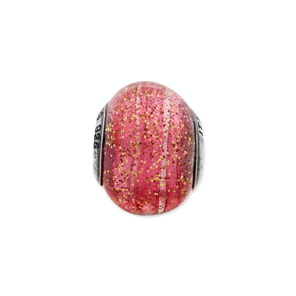 Sterling Silver Reflections Italian Pink w/Gold Glitter Glass Bead