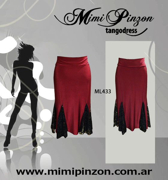 Pollera tango salon ml433 bordó
