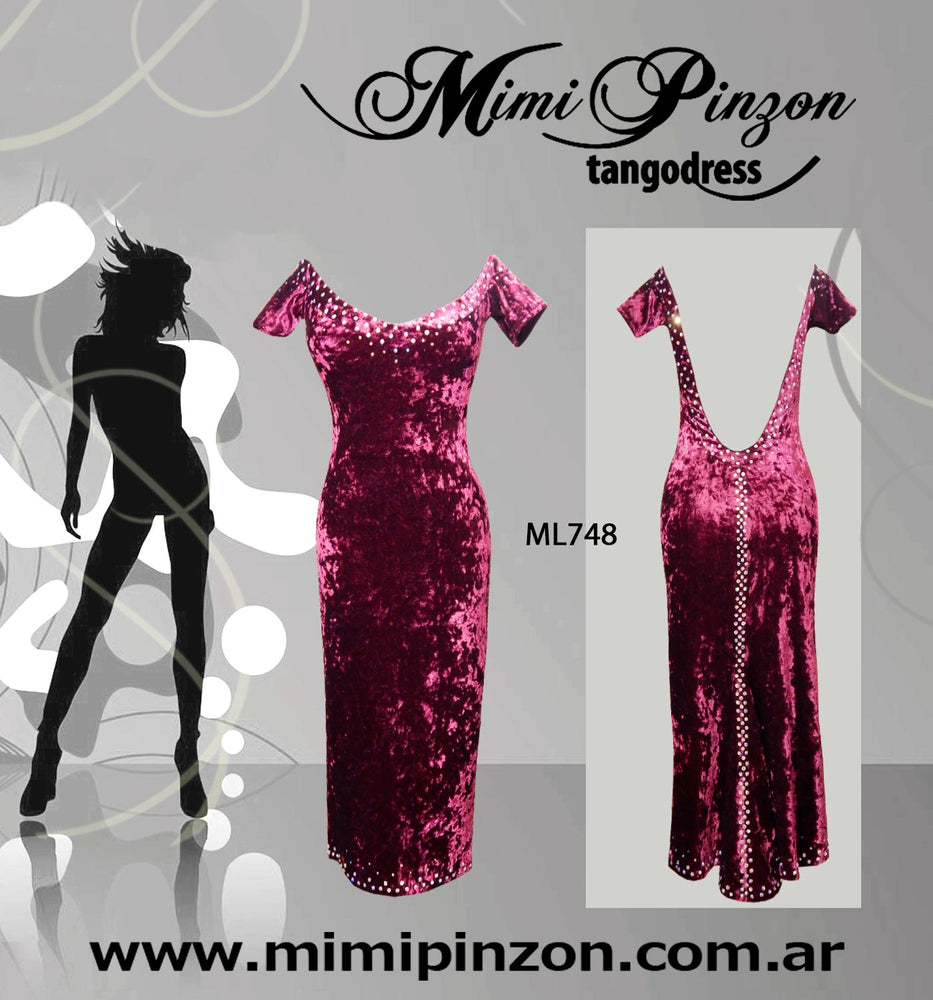 Vestido tango Salon ML748 bordo