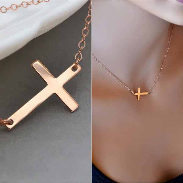 Personalized Cross Necklace, Sideways Cross - MalizBIJOUX