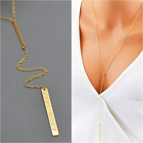 Delicate Y Bar Necklace, Name Y Necklace Engraved, Silver, Gold, Rose Gold - MalizBIJOUX