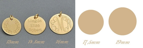 Personalized Disc Charm, Initial, Name Disc Pendant, Engraved Disc - MalizBIJOUX