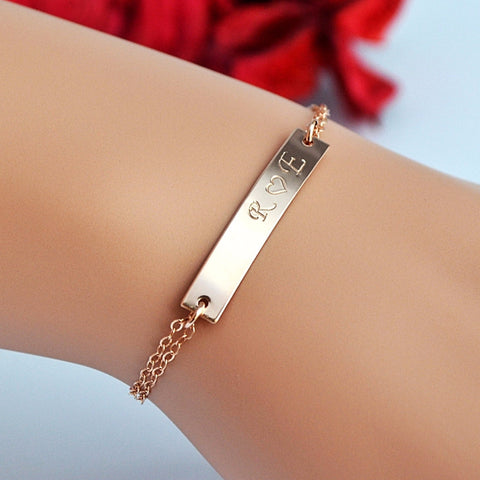 Bar Bracelet, Custom Name Bracelet, Engraved Bracelet Gold, Silver, Rose Gold - MalizBIJOUX