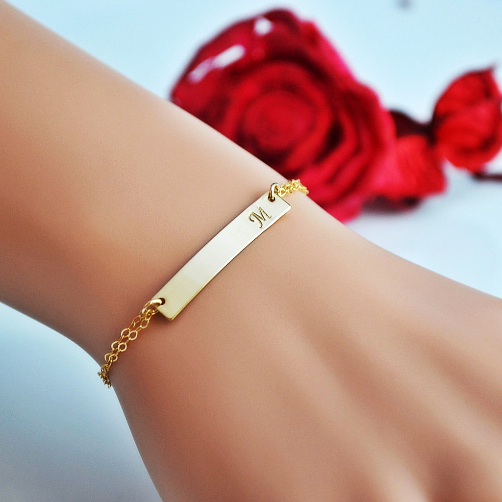 woman bracelet gold chain rope womens inc blue bar image