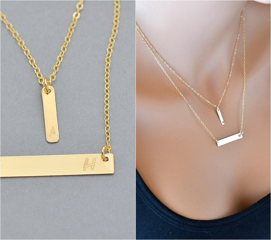 cr img bar message horizontal necklace gold