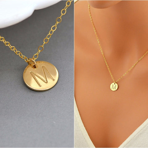 Initial Disc Necklace, Handstamped Disc - MalizBIJOUX