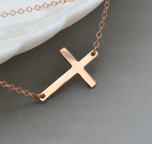Personalized Cross Necklace, Sideways Cross