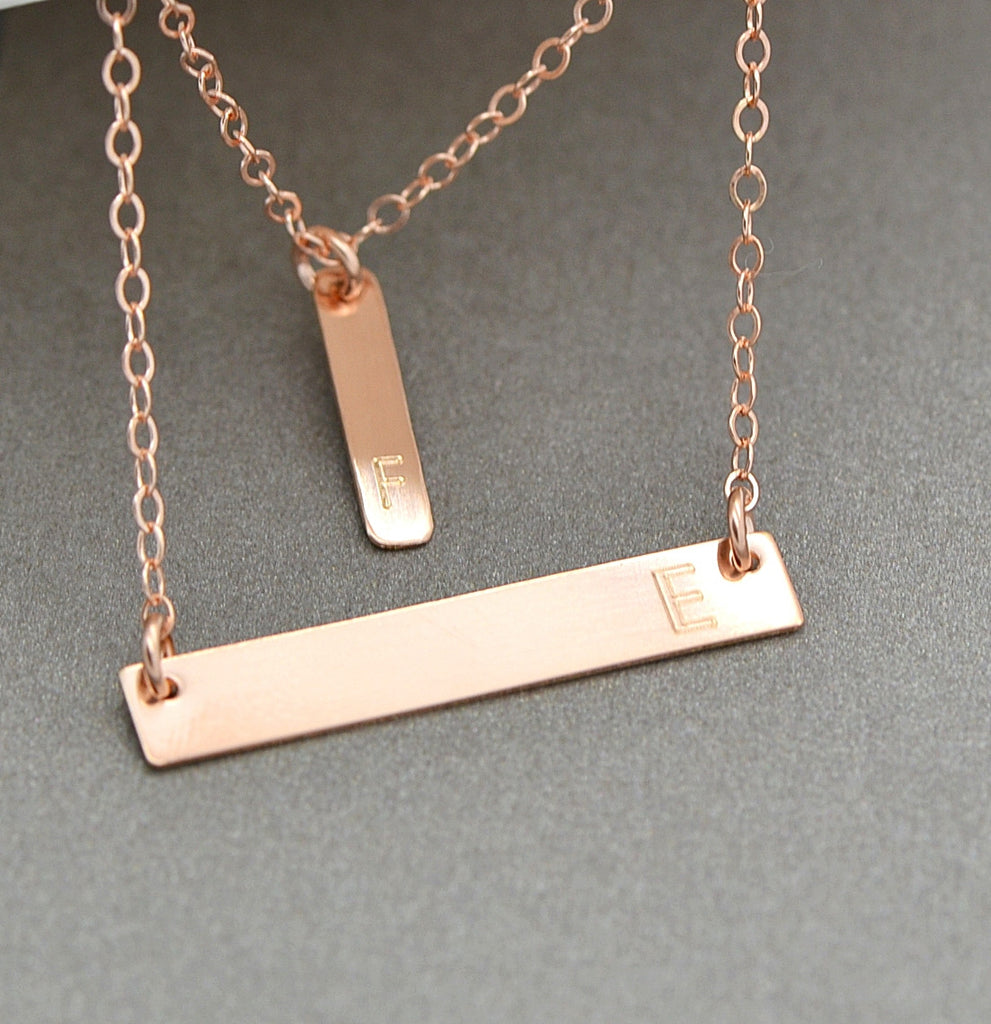 personalized necklace or christmas gift plated dainty vertical bar your bridesmaid machine day dp cdt hand shipping same til amazon name gold com engraving stamped pendant