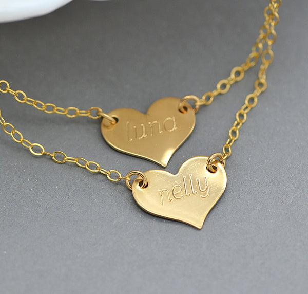 Heart Necklace, Personalized Name Heart, Silver, Gold Filled, Rose Gold - MalizBIJOUX