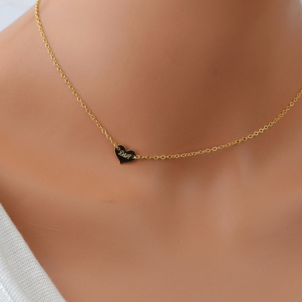 Tiny Heart Choker Necklace, Personalized Heart, Minimal Necklace, Gold Heart - MalizBIJOUX