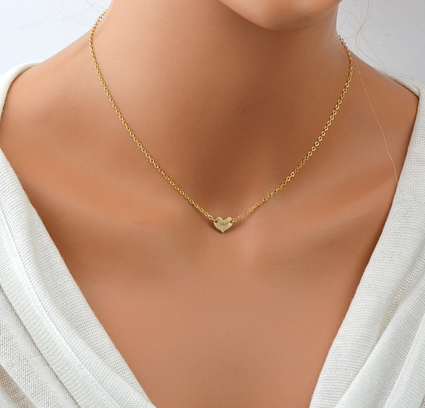 Tiny Heart Choker Necklace, Personalized Heart, Minimal Necklace, Gold Heart