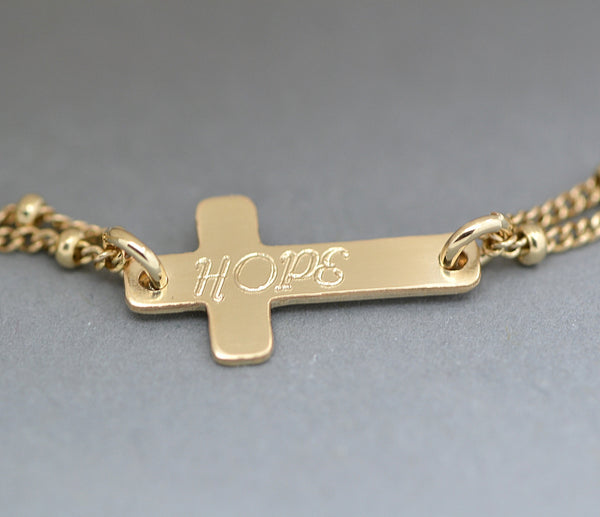 Personalized Cross Bracelet, Cross Bracelet Engraved, Silver or Gold Bracelet