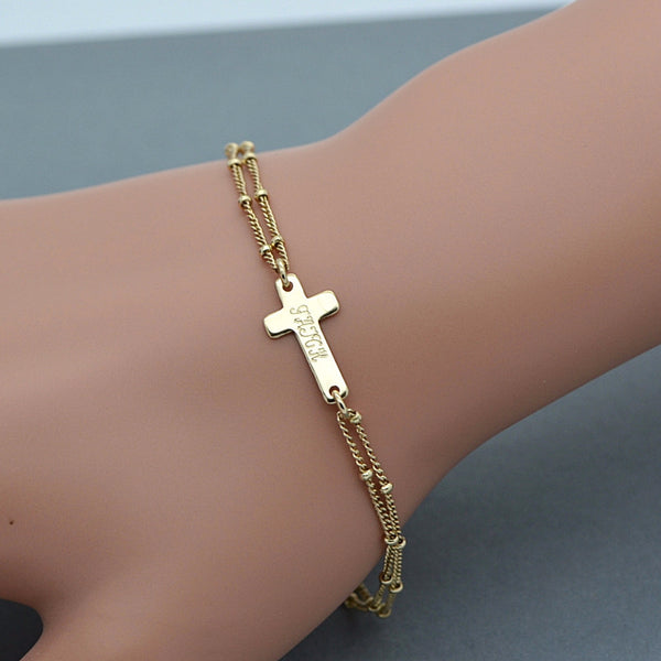 Personalized Cross Bracelet, Cross Bracelet Engraved, Silver or Gold Bracelet - MalizBIJOUX