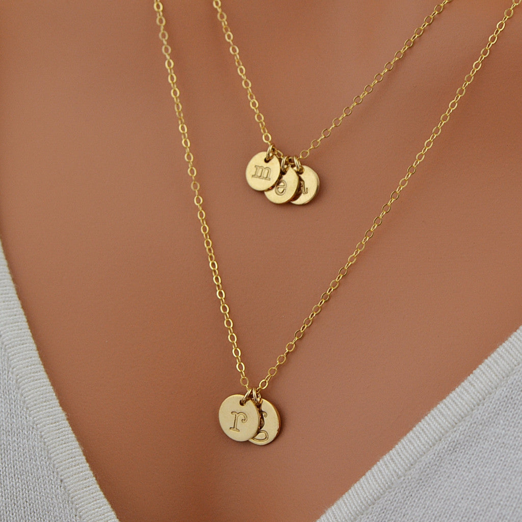 Layered disc necklace personalized disc handstamped disc layered disc necklace personalized disc handstamped disc initial necklace malizbijoux mozeypictures Choice Image