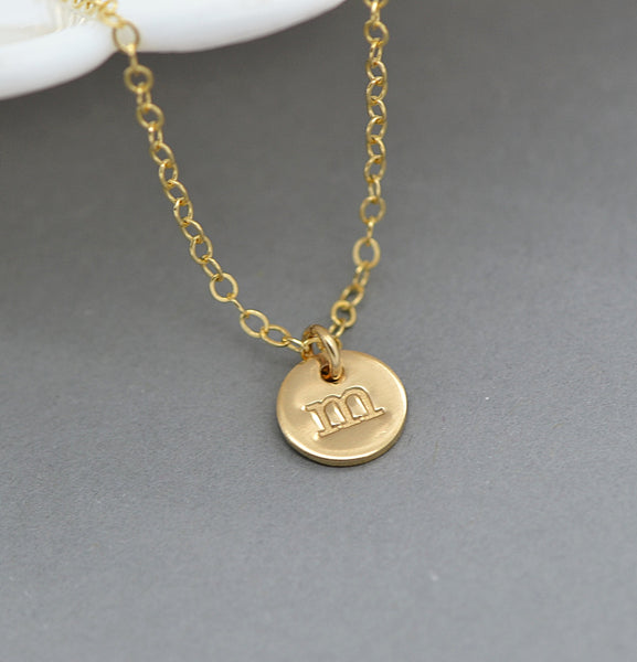 Dainty Disc Necklace Layered, Personalized Disc, Handstamped Disc Necklace