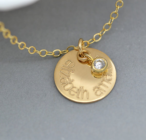 Name Disc Necklace, Personalized Disc