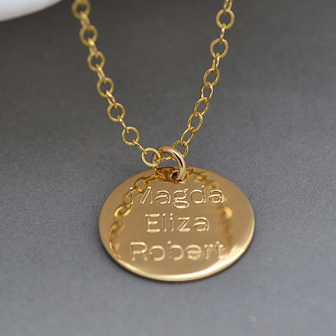 Name Disc Necklace, Engraved Disc, Name Necklace Gold, Silver, Rose Gold - MalizBIJOUX